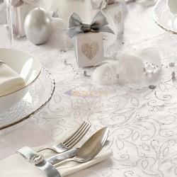 Camino de mesa de organza blanca decorada plateada