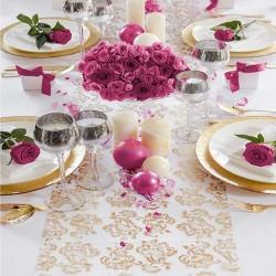 Camino de mesa de organza con decoración dorada/plateada estampada