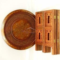 Mesa árabe redonda plegable de madera