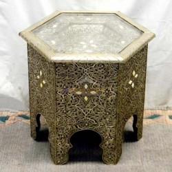 Mesa árabe hexagonal de madera