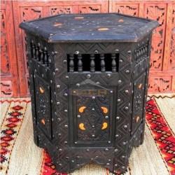 Mesa árabe hexagonal de madera cedro
