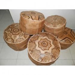Conjunto de 5 puffs árabe de cuero natural