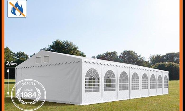 Party tent 8x20m, fire resistant.